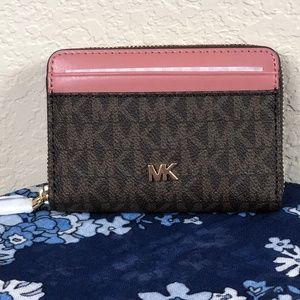 Michael Kors Money Pieces Coin Card Case Brown NWT